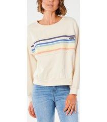 rip curl juniors' cotton tiki stripe crewneck sweatshirt