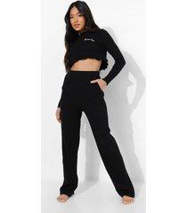 petite 'honey' pyjama set met franjes, zwart