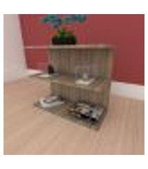 mesa de cabeceira minimalista moderna em mdf amadeirado