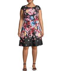 plus floral-print a-line dress