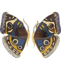 blue and yellow marquetry butterfly earrings