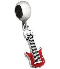 berloque de prata guitarra vermelha moments