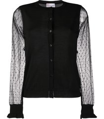 redvalentino tulle sleeves cardigan - black