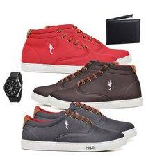 kit 3 pares sapatênis polo blu casual cano alto e cano baixo vermelho/café/cinza acompanha carteira + relógio