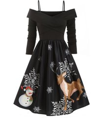 cold shoulder criss cross christmas elk snowman snowflake dress