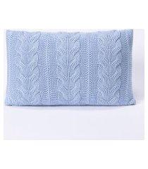 capa de almofada tricot 60x40 c/zíper sofa trico cod 106560 azul claro