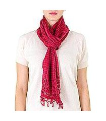 cotton scarf, 'loving hold in red' (nicaragua)