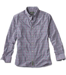 beacon stretch plain weave long-sleeved shirt, navy check, xx large
