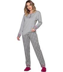pijama vincullus manga longa  cinza - cinza - feminino - dafiti