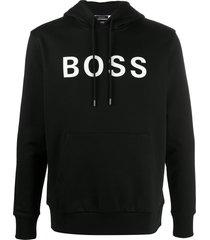 boss logo-printd hoodie - black