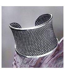 sterling silver cuff bracelet, 'bamboo lattice' (indonesia)