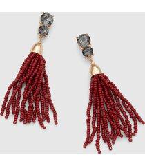 lane bryant women's beaded tassel drop earring onesz racing red