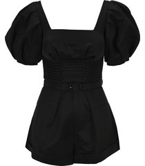self portrait ottoman square neck playsuit