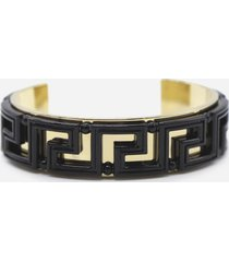 versace bracelet with all-over greek motif in shiny finish