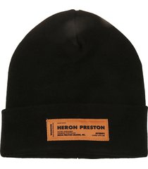 heron preston logo patched knit beanie