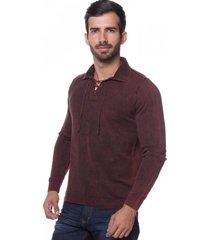 camisa polo retrô le tisserand stone vermelho