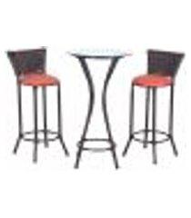 conjunto bistrô mesa alta e 2 banquetas moscou pedra ferro a40 para cozinha edicula bar varanda