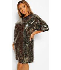 plus luipaardprint t-shirt jurk met pailletten, gold