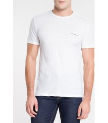 camiseta masculina desfibrada branca calvin klein jeans - pp