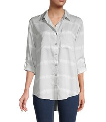 pure navy women's roll tab sleeve button-down - white purple - size xs