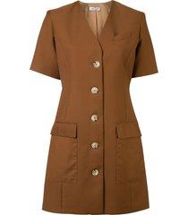 anna quan portia single-breasted tailored dress - brown