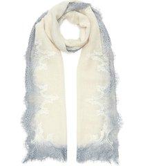 dégradé lace border wool-cashmere scarf
