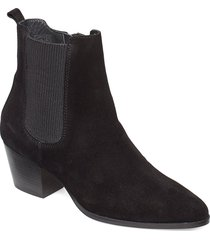 booties - block heel - with elas shoes boots ankle boots ankle boots with heel svart angulus