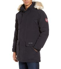 men's canada goose emory slim fit genuine coyote fur trim parka, size large - blue