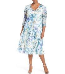 plus size women's komarov print three-quarter sleeve chiffon a-line dress, size 2x - blue
