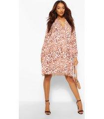 zwangerschap gesmokte luipaardprint jurk, roze