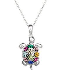 """giani bernini crystal turtle 18"""" pendant necklace in sterling silver, created for macy's"""