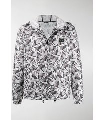 fendi futuristic ff print hooded jacket
