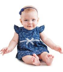 conjunto bebê tilly baby vestido e tapa fralda azul marinho - tricae