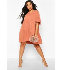plus ruched detail smock dress, terracotta