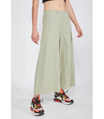 pantalón maxi culotte lino verde claro mujer sioux