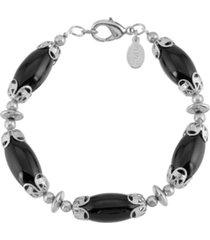 2028 silver-tone onyx semi precious stone link bracelet