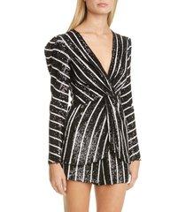 women's sachin & babi peyton stripe sequin faux wrap puff shoulder top, size 6 - black