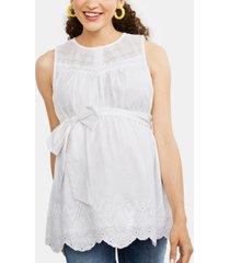 motherhood maternity embroidered babydoll blouse