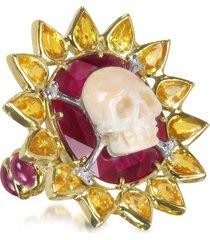 bernard delettrez designer rings, gold, ruby and yellow sapphires skull bone ring