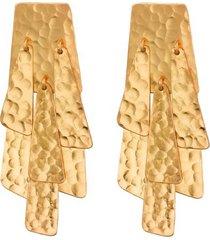 natori hammered gold waterfall clip earrings, women's