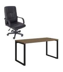 mesa de escritório kappesberg 1.50m e cadeira presidente trevalla