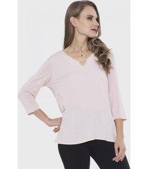 blusa con aplicación al centro rosa lorenzo di pontti
