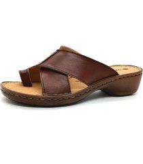 sandalia de cuero marrón febo super confort