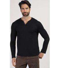 suéter masculino em tricô gola portuguesa preto