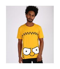 camiseta masculina bart simpson manga curta gola careca amarela
