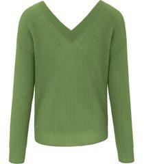 trui van 100% kasjmier met v-hals en lange mouwen van include groen