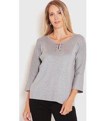 sweater wados tres cuartos gris - calce regular