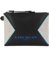 givenchy panelled logo print clutch - black