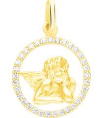 ciondolo angioletto in oro giallo e zirconi per donna