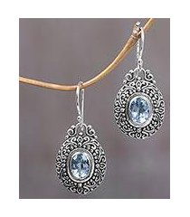 blue topaz dangle earrings, 'pale blue fables' (indonesia)